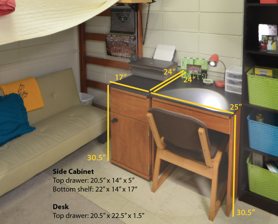 desk dimensions for rooms in the residential college. Black Bedroom Furniture Sets. Home Design Ideas