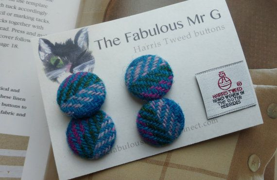 Harris Tweed 25mm Buttons by TheFabulousMrG on Etsy, $8.00