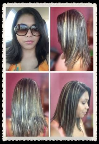 Dark black brown hair with blonde highlights :) before picture (top left)