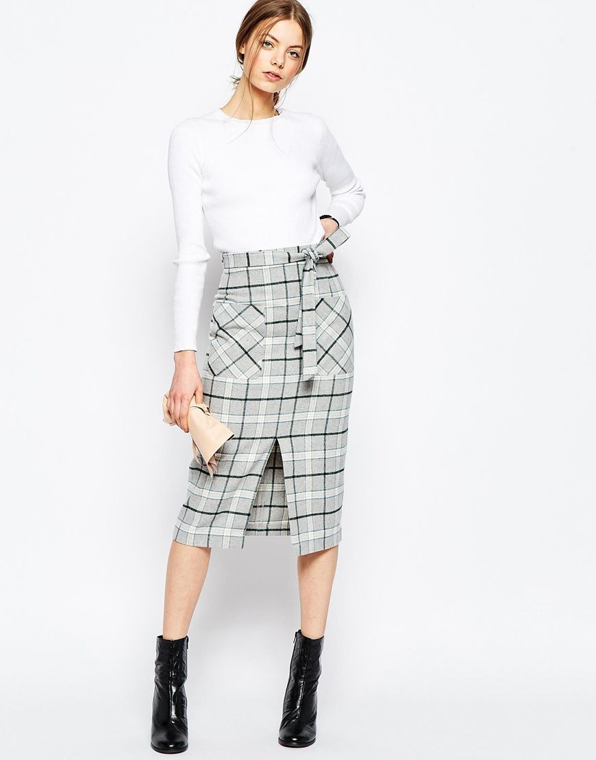 Stuff to Try and Fashions to Buy/ASOS Premium Check Pencil Skirt with Pocket Detail