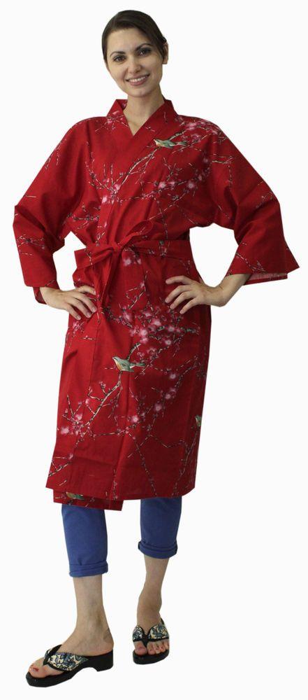 Kimono Ethnic Jacket Ume Uguisu Red #680 Happi Coat Novelty Gift ...