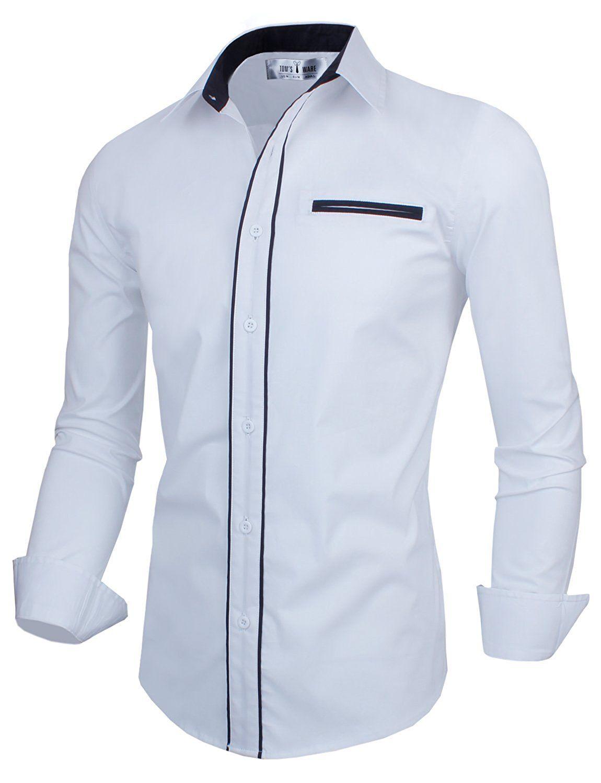 Mens Premium Slim Fit Casual Inner Contrast Dress Shirt