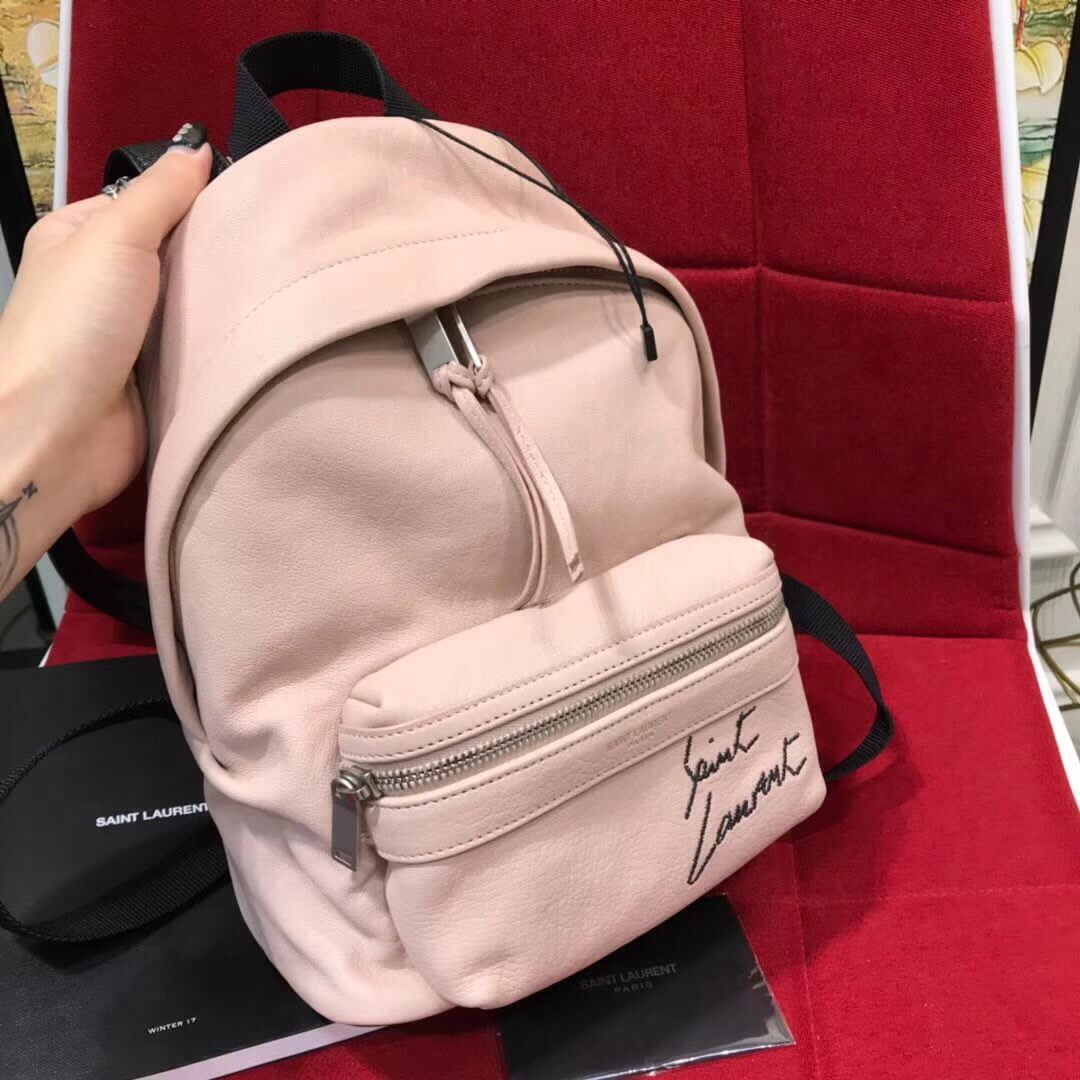Saint Laurent Mini Toy City Embroidered Backpack in Lambskin 505031 Pink  2018 c58da86d5f