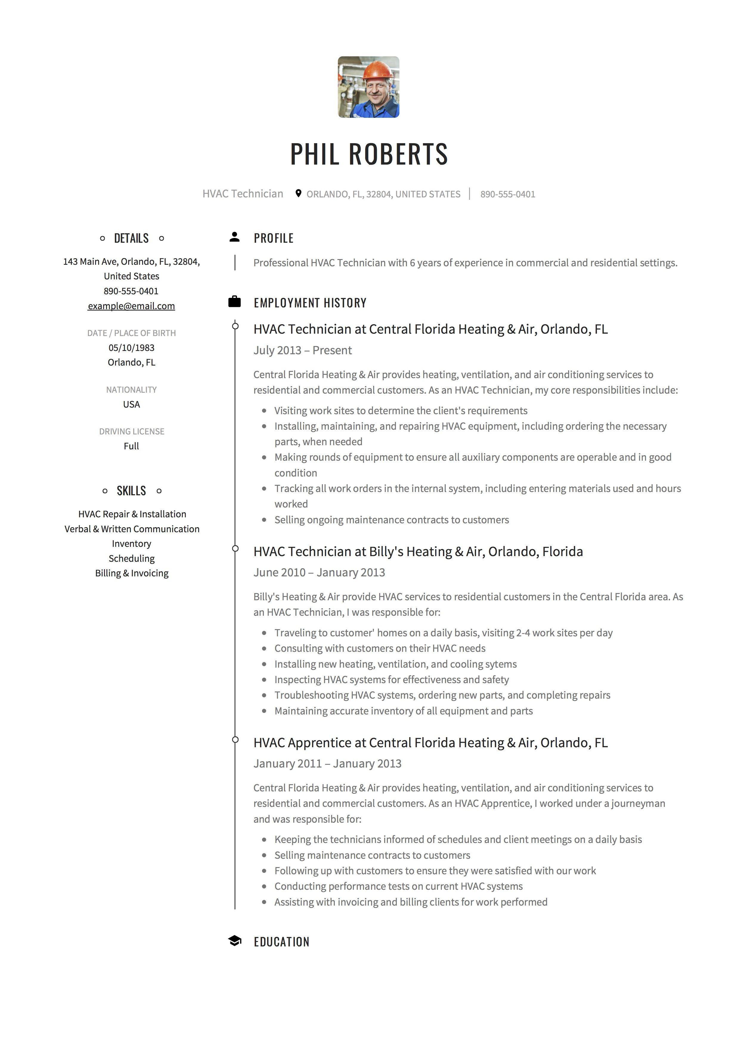 Hvac Technician Resume Template Resume Guide Hvac Technician Resume Examples