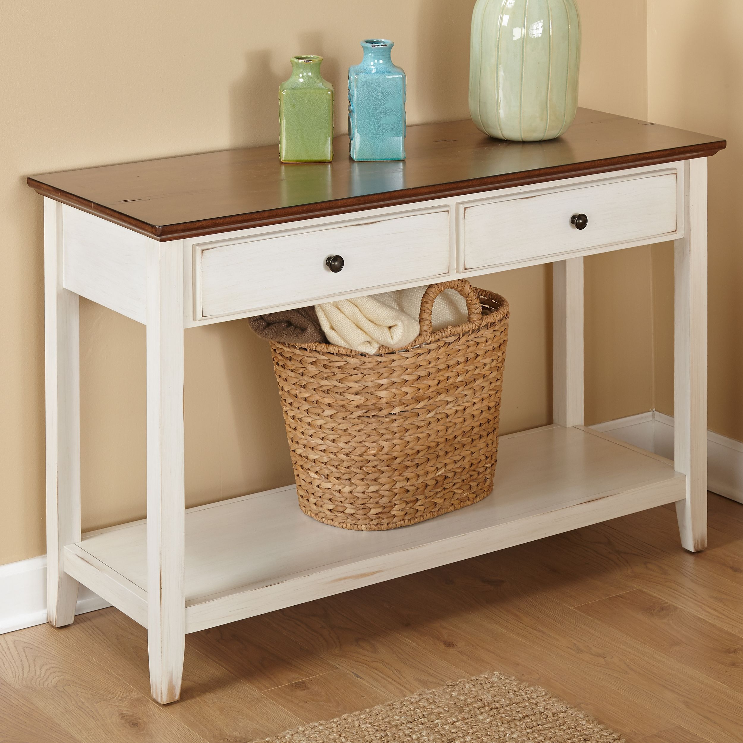 The Charleston Sofa Table Features An Off White Distressed Finished Base With A Distressed