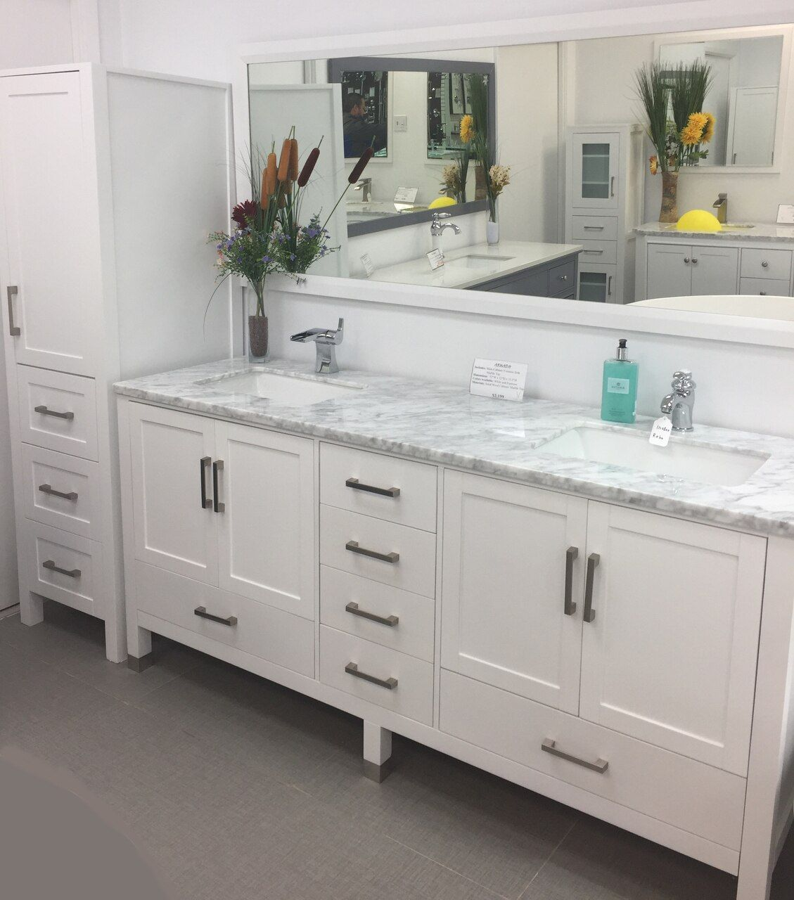 Palmera 90 Inch Double Sink Bathroom White Vanity Side Cabinet Tower Double Sink Bathroom White Vanity Bathroom Double Sink Bathroom Vanity [ 1280 x 1129 Pixel ]