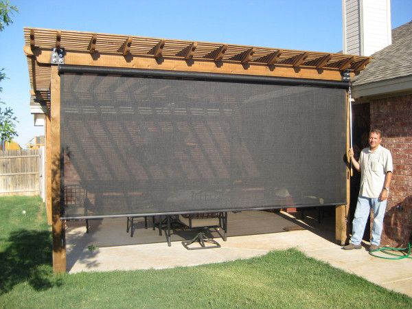 Enclosure Captivating Exterior Patio Roller Shades Attached On Wooden Outdoor Pergolas With Metal Swivel Chairs