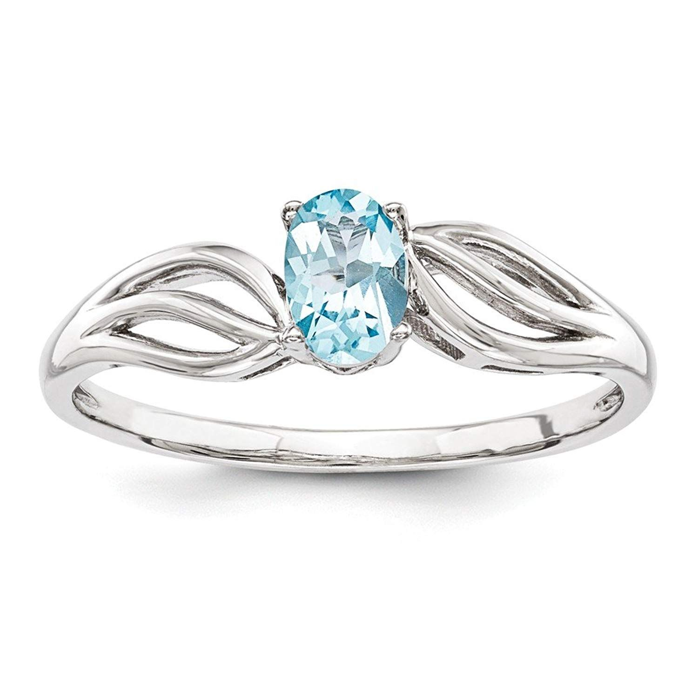 Perfect Jewelry Gift Sterling Silver Rhodium Light Swiss Blue Topaz /& Diam Ring
