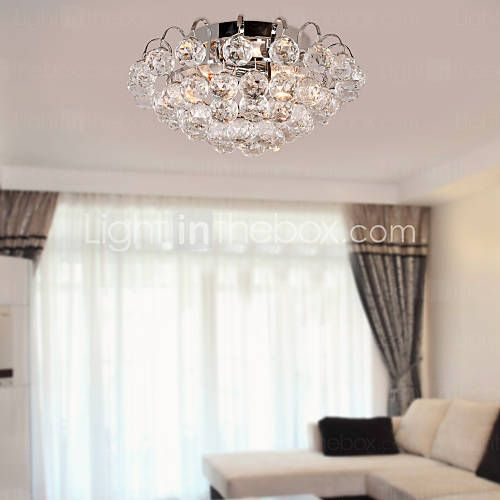Crystal Semi Flush Mount with 3 Lights