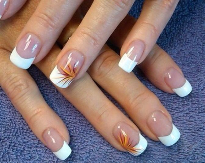 Fall colors with French nail design   Nail Designs   Pinterest ...