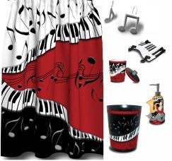 Jazzy Music Themed Shower Curtain U0026 Accessory Bundle This Striking Bold  Music Print Bathroom Decor Will Have You Singing In The Shower Everyday!