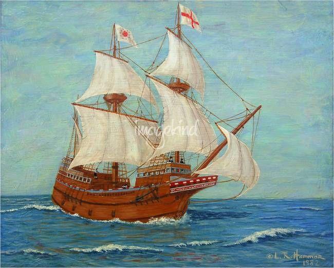 Mayflower Ship Painting | Mayflower Ship Painting by Linda Hammar - Del Favero, South Holland ...