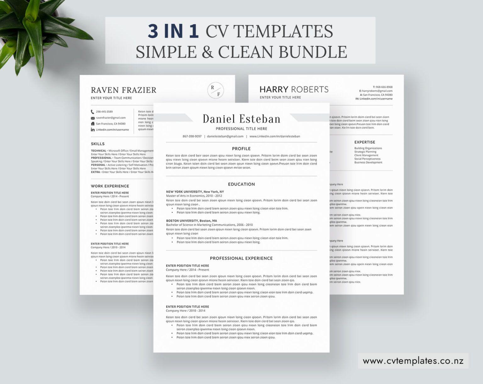 Cv Bundle For Ms Word, Cv Templates, Minimalist Curriculum