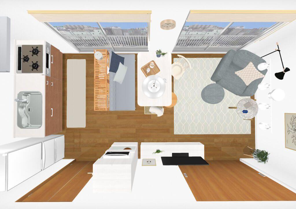10畳の縦長のldk リビングダイニングキッチン の部屋のレイアウト
