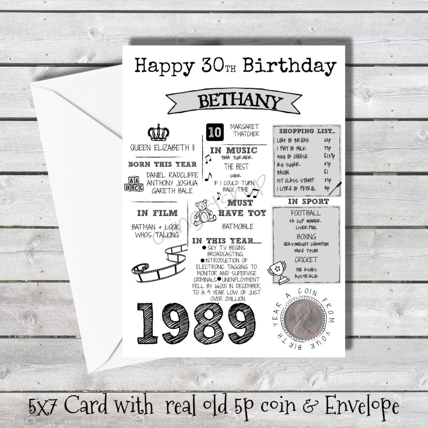 Personalised 30th Birthday Card With 1990 With Real Coin In Etsy 30th Birthday Cards Birthday Cards 60th Birthday Cards