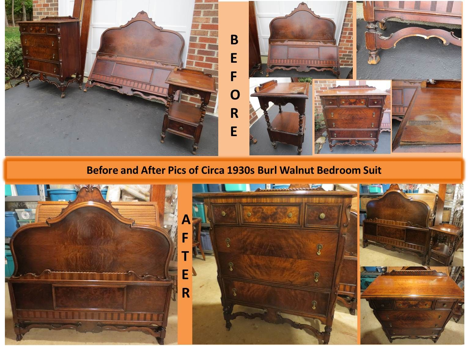 Ca 1920s Burl Walnut Bedroom Suite That I Restored Refinished Into Beautiful Bedroom Furniture