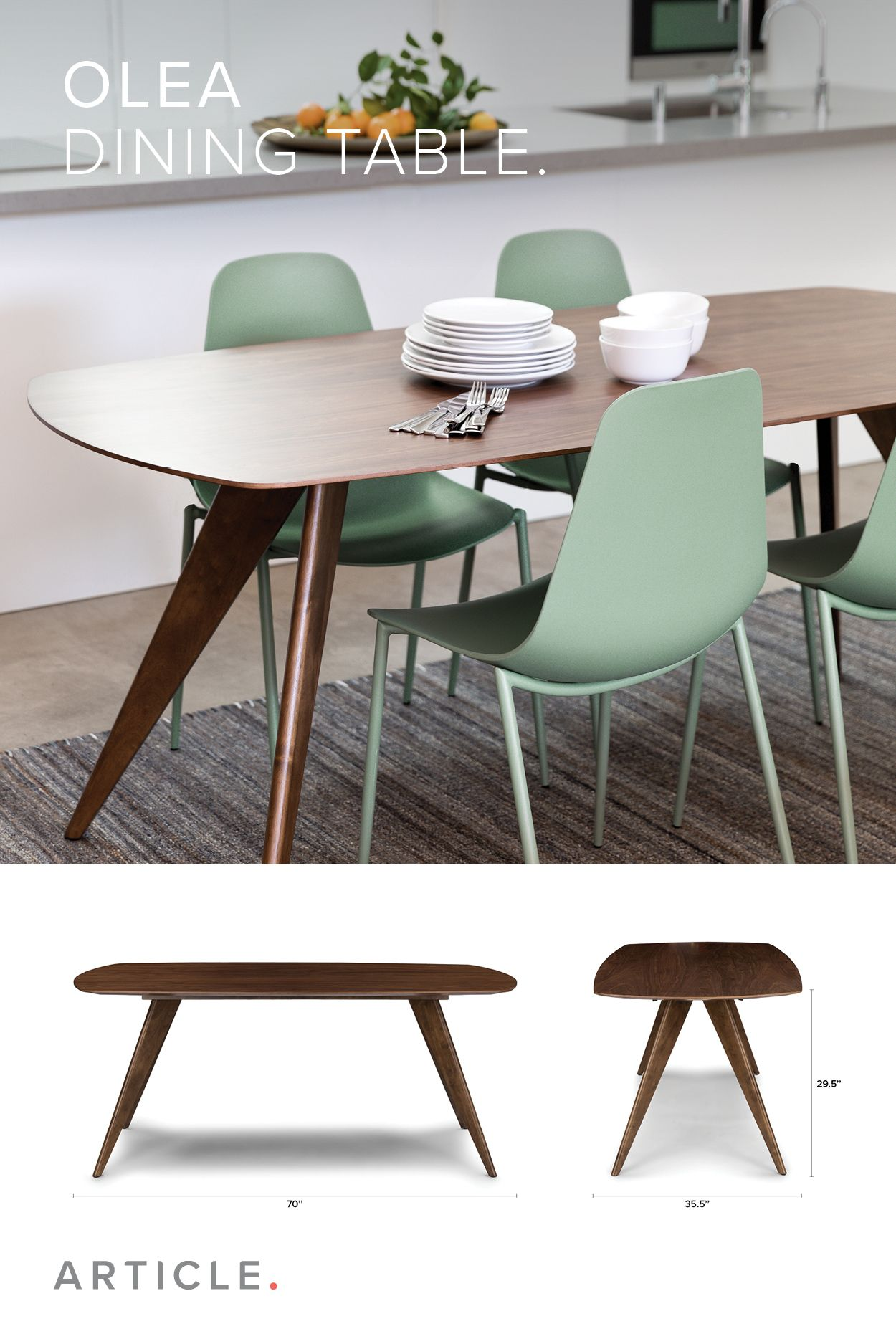 Olea Dining Table Mid Century Style Dining Table Dining Table