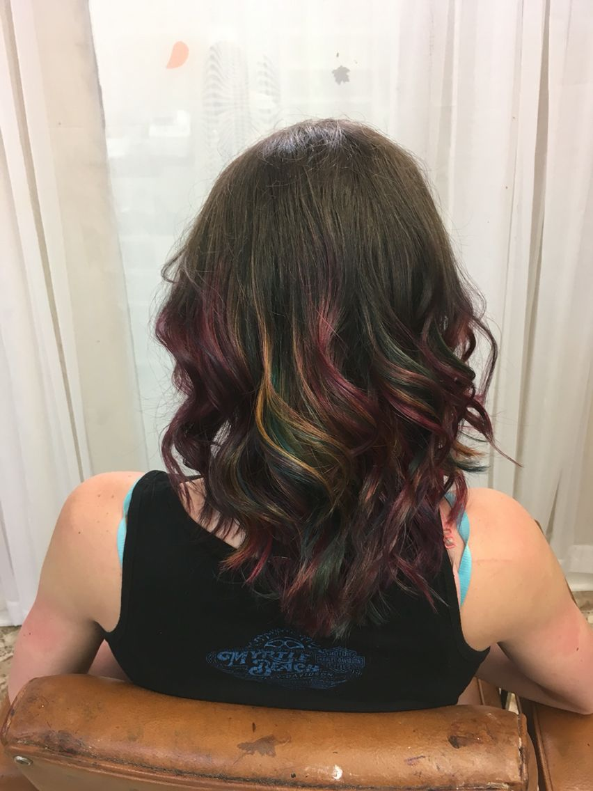 Oil Slick Hair Inspired Medium Length Hair Curled With Fun Colors