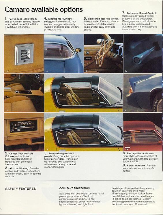 1979 Camaro Sales Brochure Options Camaro 1979 Camaro Chevrolet Camaro
