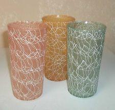3 Vintage Rubber Coated Spaghetti Drizzle Glass Tumblers/12 oz/Green/Orange/Pink