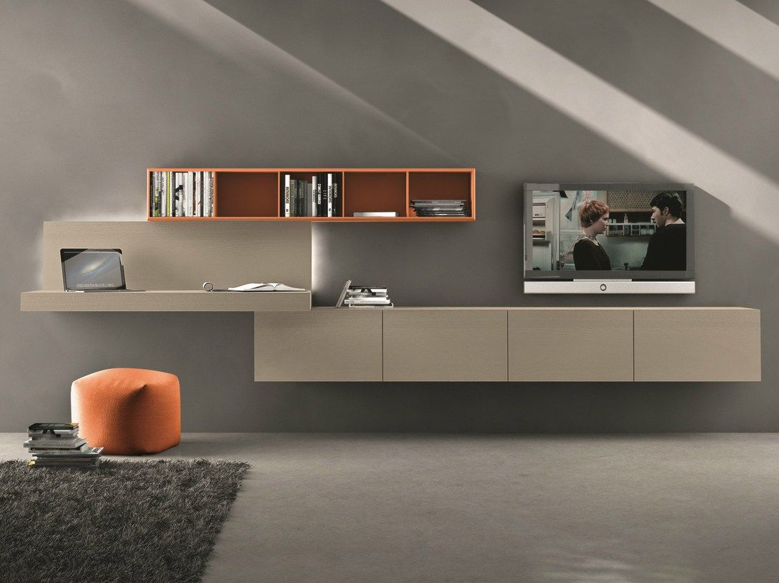 Sectional wall-mounted TV wall system I-modulArt - 297 by Presotto ...