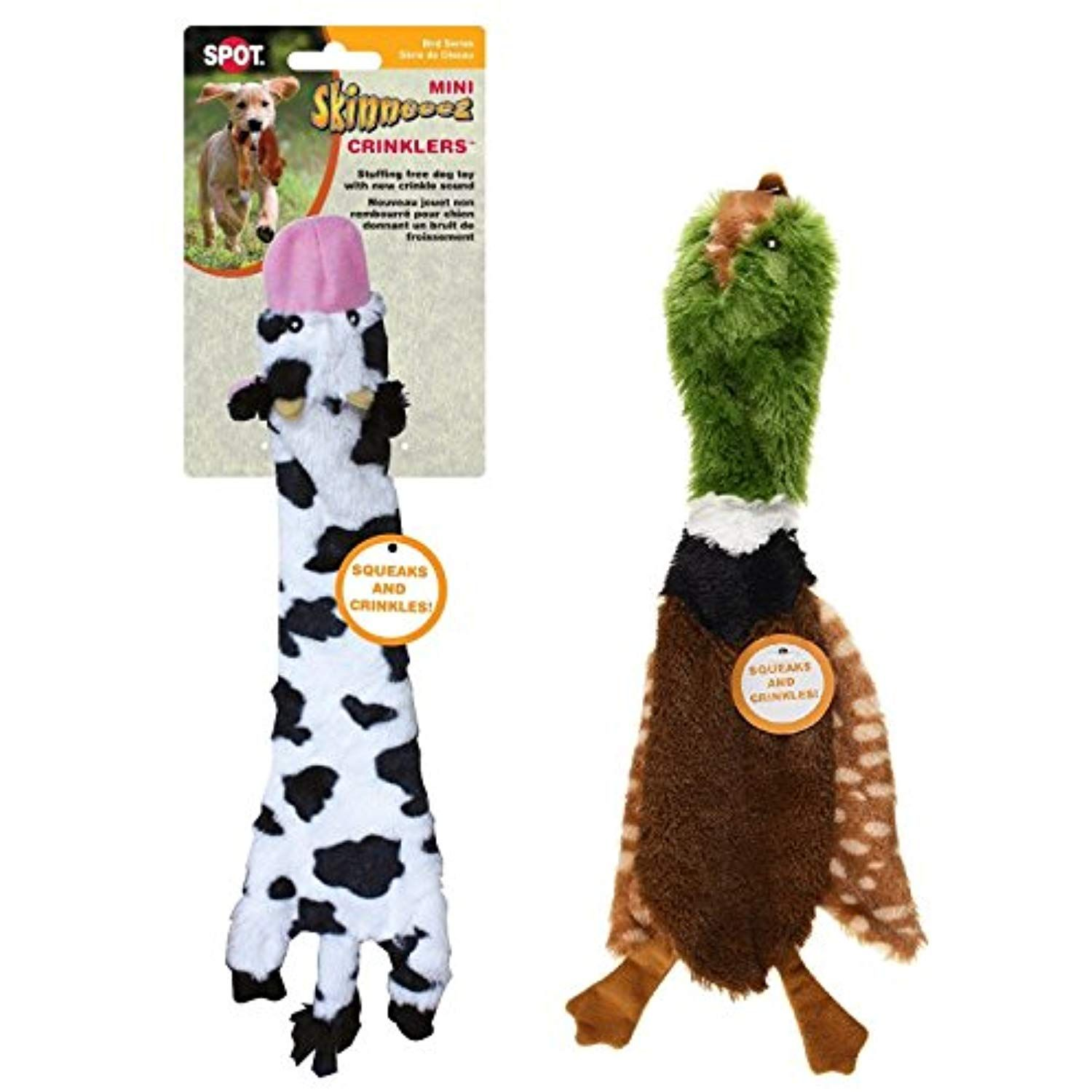 Ethical Pets Skinneeez Crinklers 14 Inch Cow And 14 Inch Bird Dog
