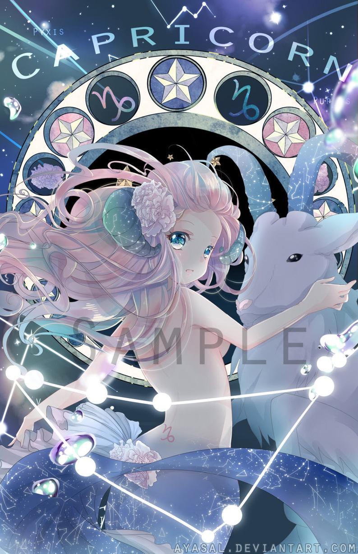 Pin By Saturne On Arte Kawaii In 2021 Anime Zodiac Capricorn Art Constellations Art Print