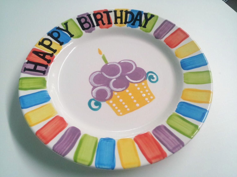 Hand Painted Ceramic \ Happy Birthday\  Plate & Hand Painted Ceramic \