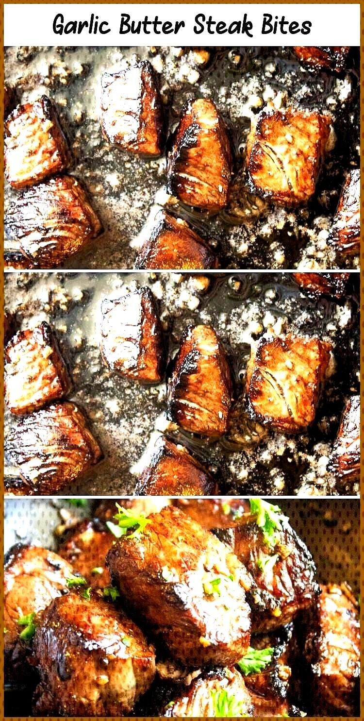 These are marinated and so juicy THE BEST garlic butter steak bites MeatrecipesCooking ChristmasMe