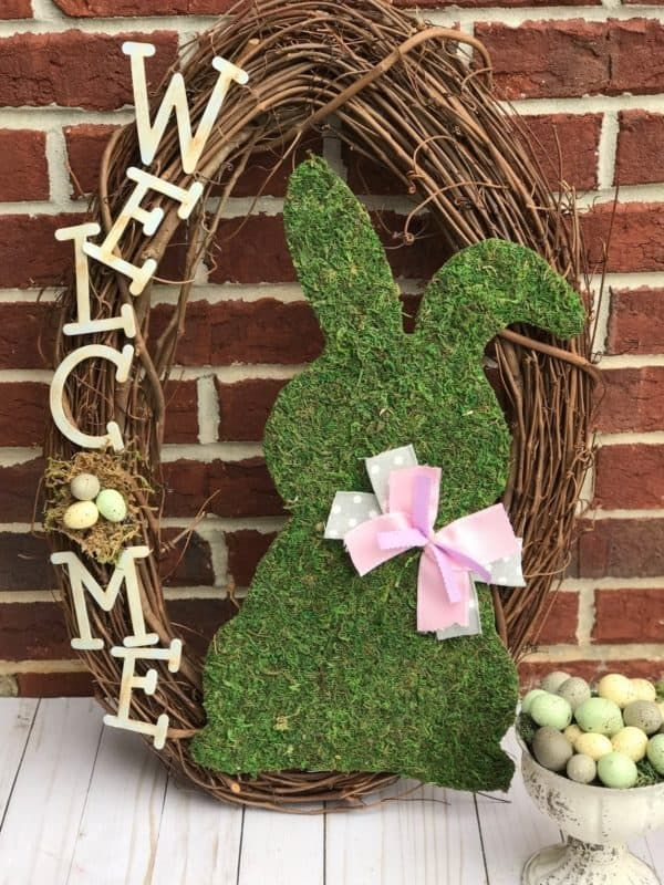 Photo of DIY Easter Wreath with cute Moss Bunny for Spring