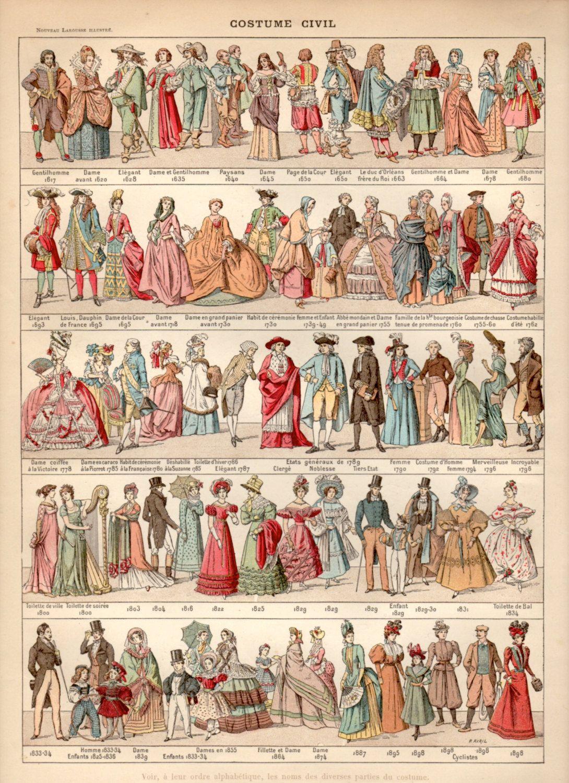 Ancient costumes antique print vintage lithograph folk