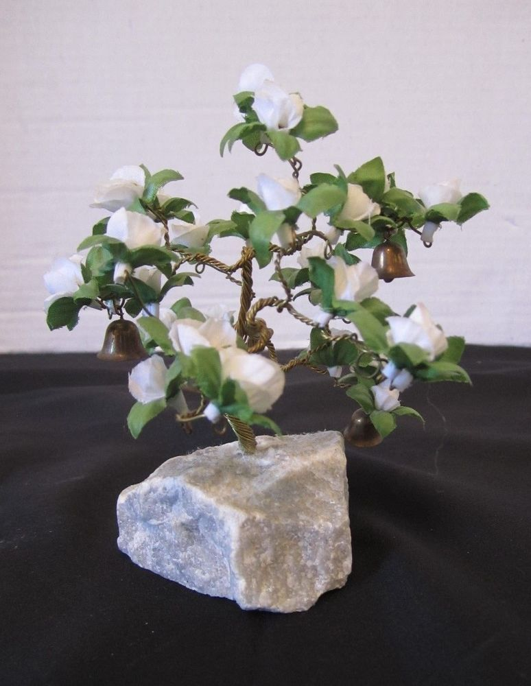Copper Wire Bell Blossom Bonsai Tree Wish Prayer Lucky White Flower Garden