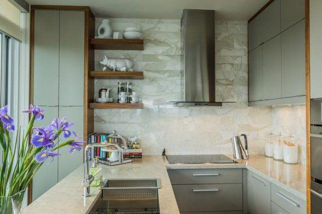 Küchenzeile u form klein  Küche in U-Form klein-graue-fronten-wandfliesen-arbeitsplatte ...