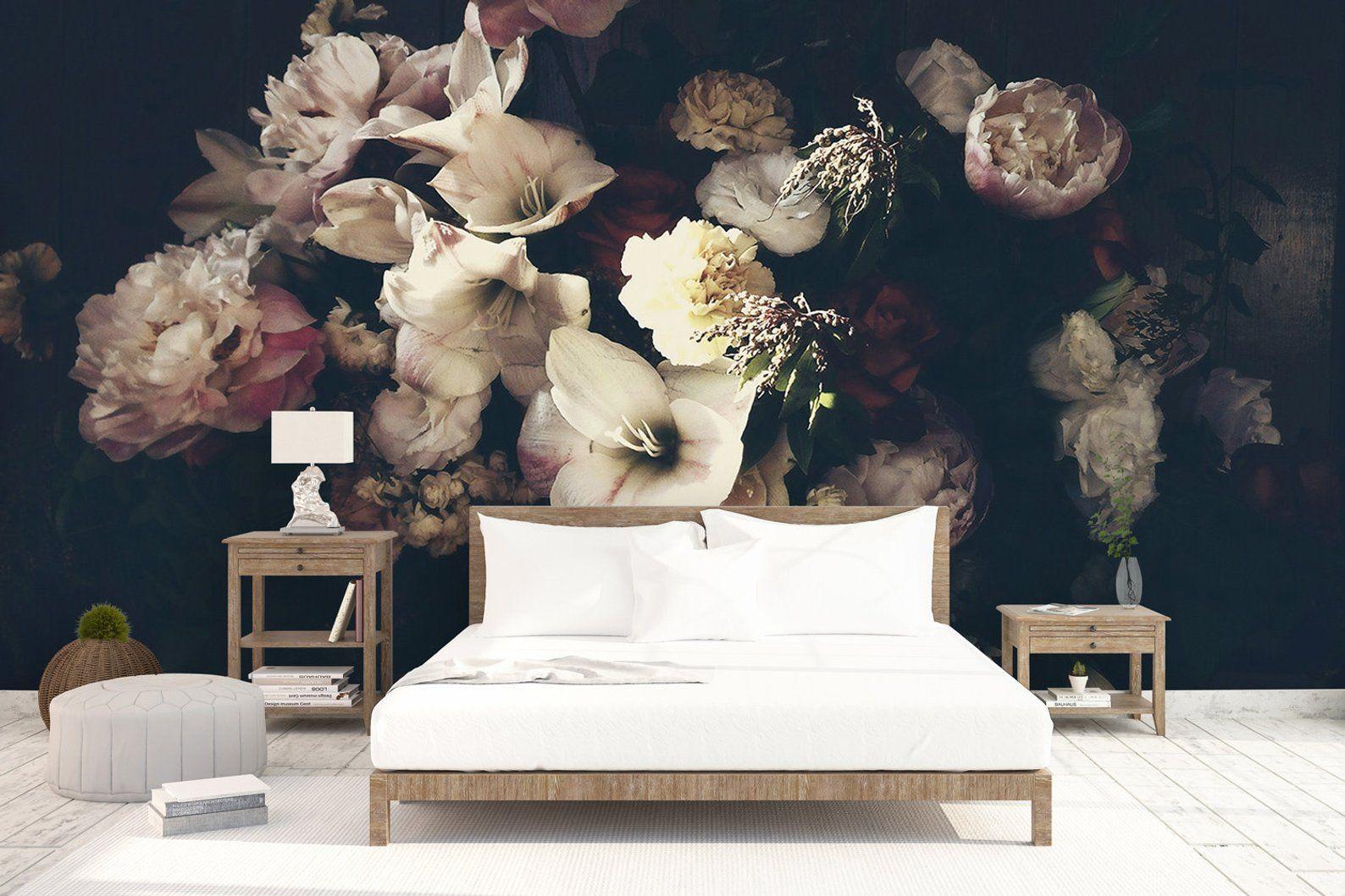 Colori Da Parete Per Camerette dark floral wallpaper dutch florals wall mural peony blossom