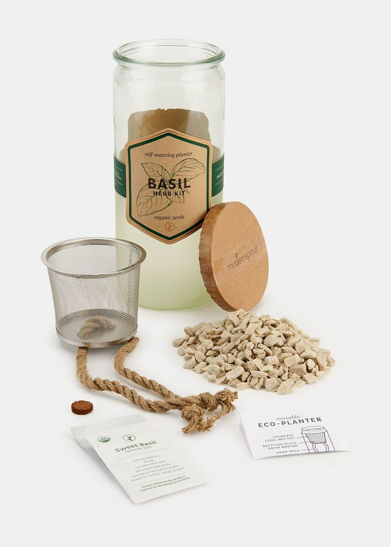 Herb Kit This Self Watering Consists Of A Stainless Steel Net Pot Grow Medium That Is Made Recycled Gl And Natural Hemp Wick