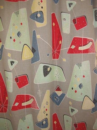1950 S Curtains Atomic Barkcloth Fabric Mid Century Modern
