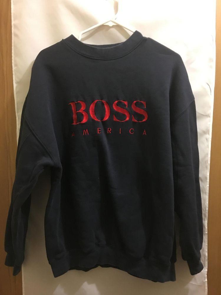 ed4bc6b64 VTG Mens Hugo BOSS AMERICA Crewneck Pullover Sweatshirt Navy & Red Large # HugoBoss #SweatshirtCrew