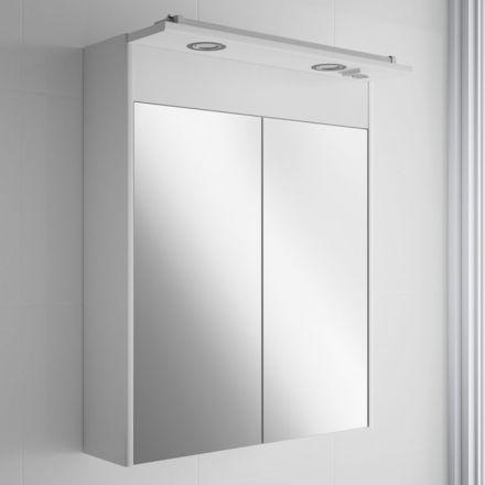 Armoire de toilette clairante pour salle de bain quip de 2 portes clairage par ampoules - Eclairage pour armoire de toilette ...