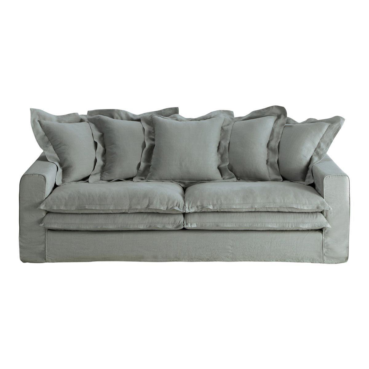 Canapé 3/4 places fixe lin gris clair LISBONNE   Dans ma maison ...