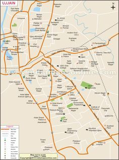 Ujjain India Map.Ujjain City Map Showing Road Railway Hospital Hotel Etc City