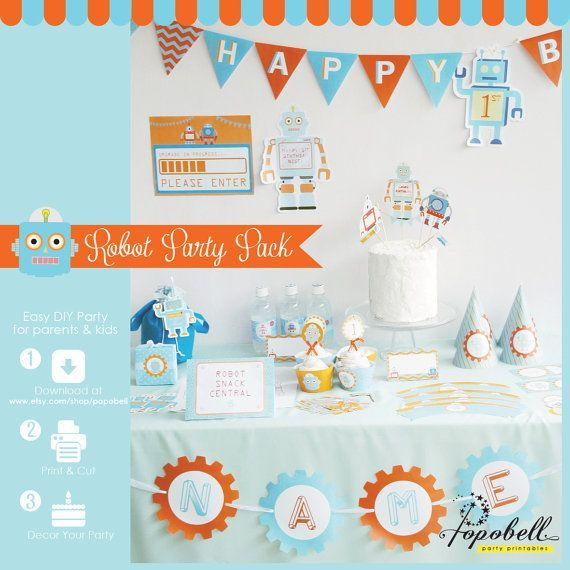 Robot birthday party pack. Complete Printables. DIY by Popobell, $30.00