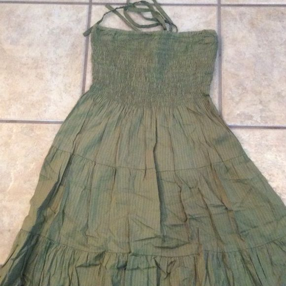 Halter/Tub top Dress Army green dress with halter straps!! Straps can be worn tucked inside!! Dresses