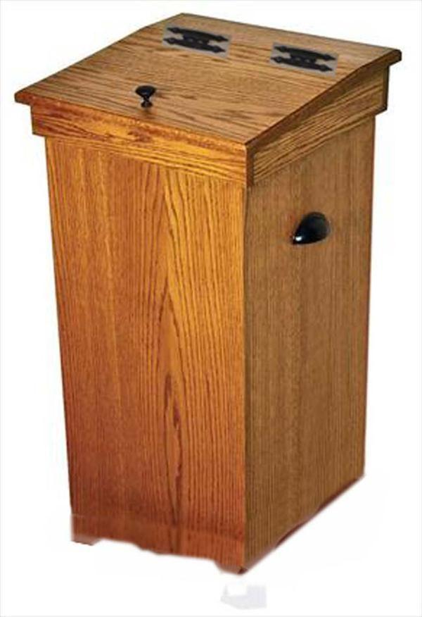 Wood Kitchen Trash Cans Amish Oak Hinge Top 30 Gal. Trash Can