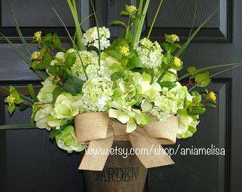 Photo of Spring wreath-Spring wreaths for front door-wreaths for front door-Valentine wreath-Summer wreaths-wreath decor-birch bark vases welcome