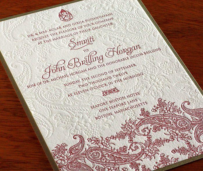 Indian Wedding Invitation Text: Indian Paisley Letterpress Wedding Invitation By