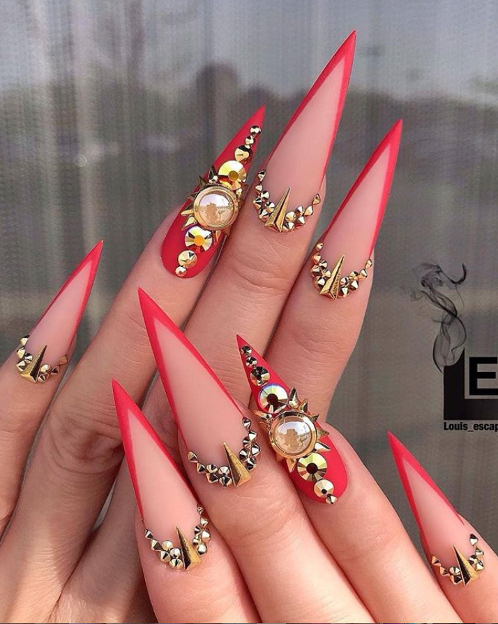 32 Elegant Acrylic Long Nails Design For Summer Nails Coffin Stiletto Red Stiletto Nails Stiletto Nails Designs Long Nail Designs