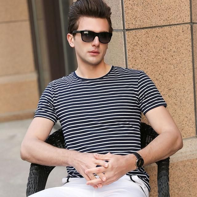 d97a0caaae10e4 Buy Mens Stripes T-Shirts Casual Slim Fit Tshirts Striped Tees Top at  Narvay.com.T Shirt Men Sailor Tee Red White Black Blue Stripes Top Summer  Beach.