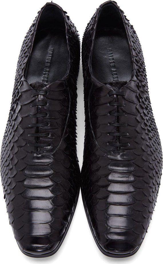 66cbf4af23be6 Haider Ackermann Black Python Leather Oxfords