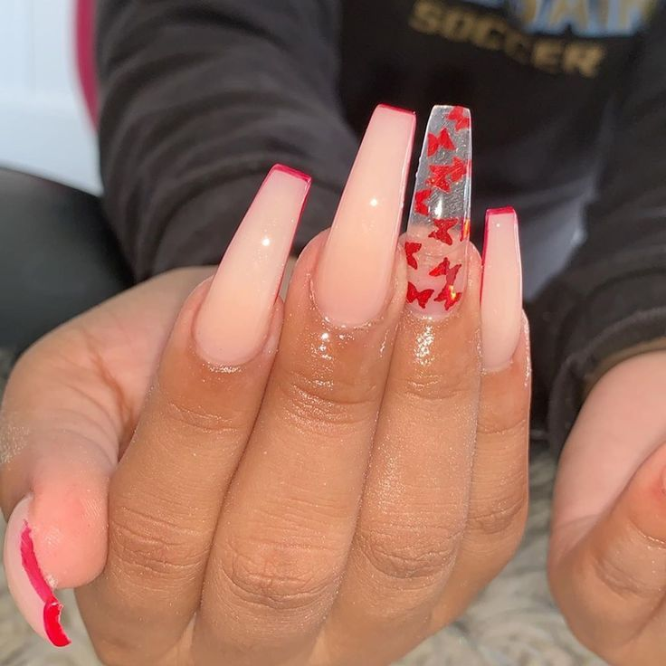 Karen Bernal On Instagram Nudenails Redtipnails Butterflynails Pretty Acrylic Nails Red Acrylic Nails Acrylic Nails