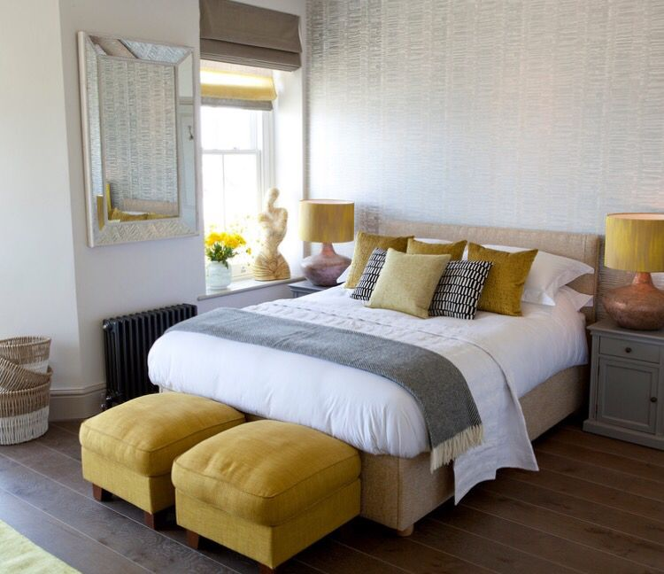Master bedroom Habitación amarilla y gris, Habitaciones